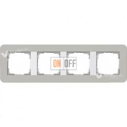 Рамка четверная  Gira E3 серый/белый глянцевый 0214412