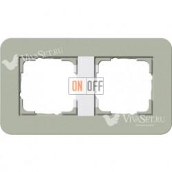 Рамка двойная  Gira E3  серо-зеленый/белый глянцевый 0212415