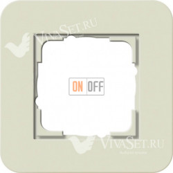 Рамка одинарная  Gira E3  песочный/белый глянцевый 0211417
