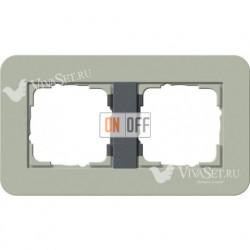 Рамка двойная  Gira E3  серо-зеленый/антрацит 0212425