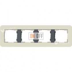 Рамка четверная  Gira E3  песочный/антрацит 0214427