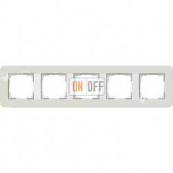 Рамка пятерная  Gira E3 светло-серый/белый глянцевый 0215411