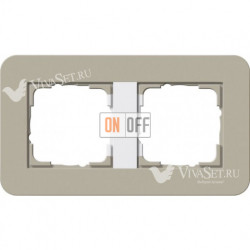 Рамка двойная  Gira E3  серо-бежевый/белый глянцевый 0212418
