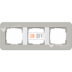 Рамка тройная  Gira E3 серый/белый глянцевый 0213412
