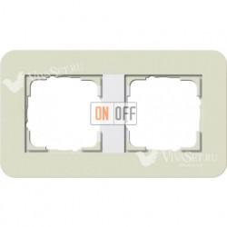 Рамка двойная  Gira E3  песочный/белый глянцевый 0212417