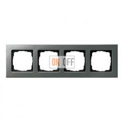 Рамка четверная, для гориз./вертик. монтажа Gira E 22, нержавеющая сталь 0214202