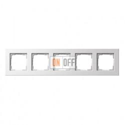 Рамка пятерная, для гориз./вертик. монтажа Gira E 22, белый глянцевый 0215201