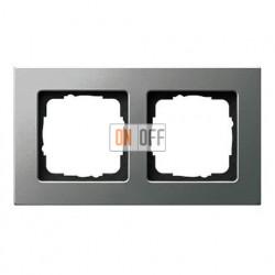 Рамка двойная, для гориз./вертик. монтажа Gira E 22, нержавеющая сталь 0212202