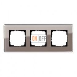 Рамка тройная, для гориз./вертик. монтажа Gira Esprit Glass C дымчатое стекло 0213522