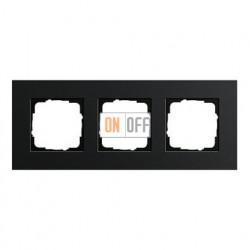 Рамка тройная, для гориз./вертик. монтажа Gira Esprit алюминий черный 0213126