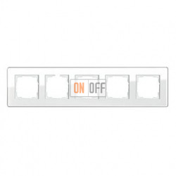 Рамка пятерная, для гориз./вертик. монтажа Gira Esprit Glass C белое стекло 0215512