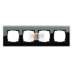 Рамка четверная, для гориз./вертик. монтажа Gira Esprit Glass C черное стекло 0214505