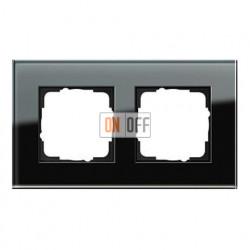 Рамка двойная, для гориз./вертик. монтажа Gira Esprit черное стекло 021205