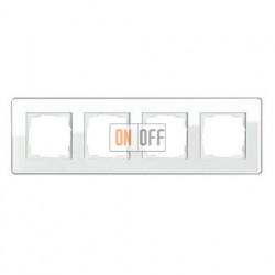 Рамка четверная, для гориз./вертик. монтажа Gira Esprit Glass C белое стекло 0214512