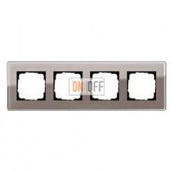 Рамка четверная, для гориз./вертик. монтажа Gira Esprit Glass C дымчатое стекло 0214522