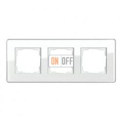 Рамка тройная, для гориз./вертик. монтажа Gira Esprit Glass C белое стекло 0213512