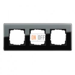 Рамка тройная, для гориз./вертик. монтажа Gira Esprit Glass C черное стекло 0213505