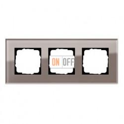 Рамка тройная, для гориз./вертик. монтажа Gira Esprit дымчатое стекло 0213122