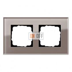 Рамка двойная, для гориз./вертик. монтажа Gira Esprit дымчатое стекло 0212122