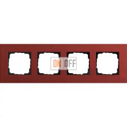 Рамка четырехместная Gira Linoleum-Multiplex, красный 0214229