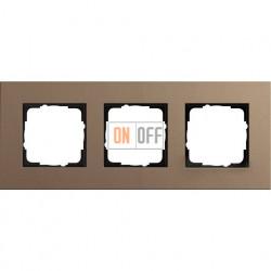 Рамка трехместная Gira Linoleum-Multiplex, светло-коричневый 0213221