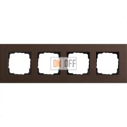 Рамка четырехместная Gira Linoleum-Multiplex, коричневый 0214223
