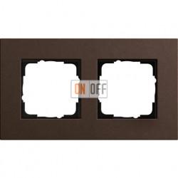 Рамка двухместная Gira Linoleum-Multiplex, коричневый 0212223