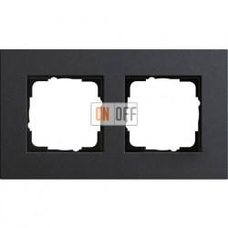 Рамка двухместная Gira Linoleum-Multiplex, антрацит 0212226
