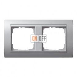 Рамка двойная, для гориз./вертик. монтажа, Gira Event алюминий 021236