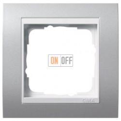 Рамка одинарная Gira Event алюминий/глянцевый белый 0211326