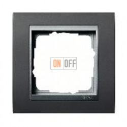 Рамка одинарная Gira Event черный/алюминий 021181