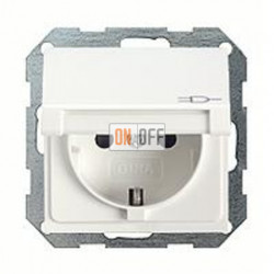 Розетка с заземляющими контактами 16 А / 250 В~, с откидной крышкой и уплотнительной мембраной IP44 045403 - 025227
