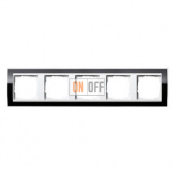 Рамка пятерная, для гориз./вертик. монтажа Gira Event Clear черный-белый глянец 0215733