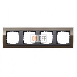 Рамка четверная, для гориз./вертик. монтажа Gira Event Clear коричневый-антрацит 0214768