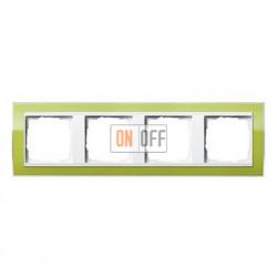 Рамка четверная, для гориз./вертик. монтажа Gira Event Clear зеленый-белый глянец 0214743