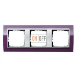 Рамка тройная, для гориз./вертик. монтажа Gira Event Clear темно-фиолетовый-алюминий 0213756