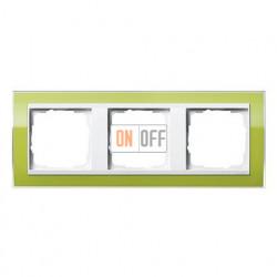 Рамка тройная, для гориз./вертик. монтажа Gira Event Clear зеленый-белый глянец 0213743