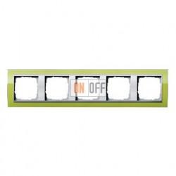Рамка пятерная, для гориз./вертик. монтажа Gira Event Clear зеленый-алюминий 0215746
