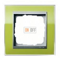 Рамка одинарная Gira Event Clear зеленый-алюминий 0211746