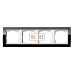 Рамка четверная, для гориз./вертик. монтажа Gira Event Clear черный-белый глянец 0214733