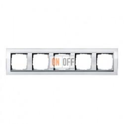 Рамка пятерная, для гориз./вертик. монтажа Gira Event Clear белый-алюминий 0215726