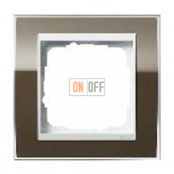 Рамка одинарная Gira Event Clear коричневый-белый глянец 0211763