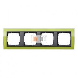 Рамка четверная, для гориз./вертик. монтажа Gira Event Clear зеленый-антрацит 0214748