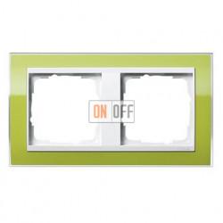 Рамка двойная, для гориз./вертик. монтажа Gira Event Clear зеленый-белый глянец 0212743