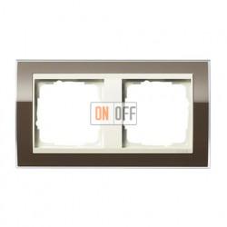 Рамка двойная, для гориз./вертик. монтажа Gira Event Clear коричневый- кремовый глянец 0212761