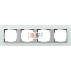 Рамка четверная Gira Event Opaque салатовый/алюминий 021451