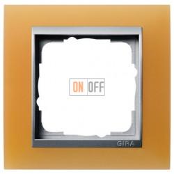 Рамка одинарная Gira Event Opaque матово-оранжевый/алюминий 021153