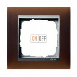 Рамка одинарная Gira Event Opaque матово-коричневый/алюминий 021159