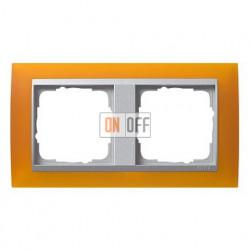 Рамка двойная Gira Event Opaque матово-янтарный/алюминий 021269