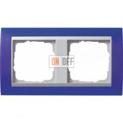 Рамка двойная Gira Event Opaque матово-синий/алюминий 021293